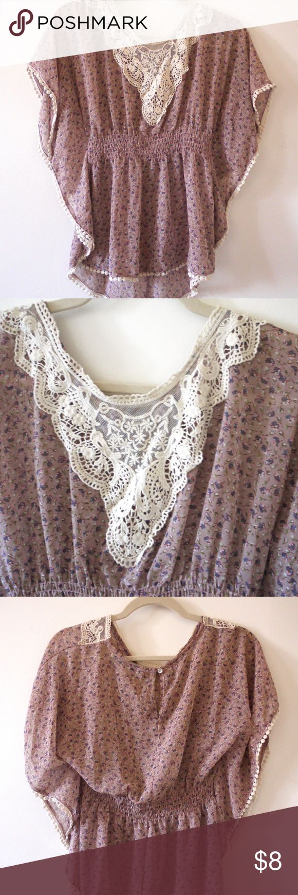 Purple Forever 21 Boho Blouse This cute Forever 21 top is perfect for a morning at a beachy farmers market. It has an easy breezy boho look. The sleeves are fluttery and the waist is tapered, with a cute lace pattern on the top. I'd say the color is lavender, but it does look more beige/neutral in certain lights. It's sheer so you'll want to wear a cami or bralette underneath. Size small, only worn a few times. :) Forever 21 Tops Blouses