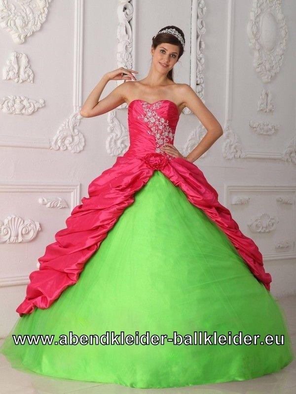 3dbb1f2b636fc Neon Grün Pinkes Ballkleid Weites Abendkleid Brautkleid ...