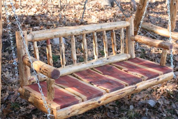 4' Rustic Cedar Log Spindle Back Porch Swing by PovertyGulch https://www.uk-rattanfurniture.com/product/san-diego-rattan-garden-furniture-brown-8-seater-rectangle-table-set/