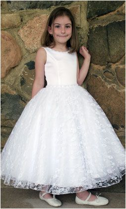 Pastel Straps Scoop Neckline Lace Satin Floor Length First Communion Gown