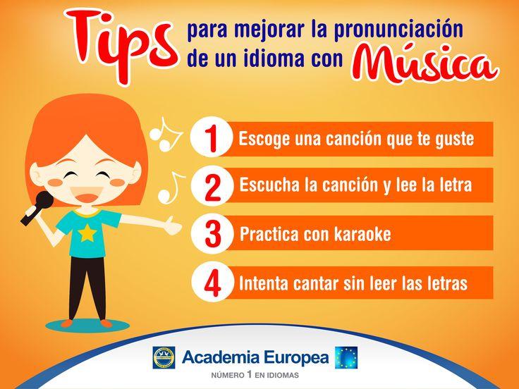 #MiércolesdeTips Aprender idiomas es divertido, una de las mejores formas de practicar la pronuciación es con música, Academia Europea te recomienda poner en practica estos consejos.