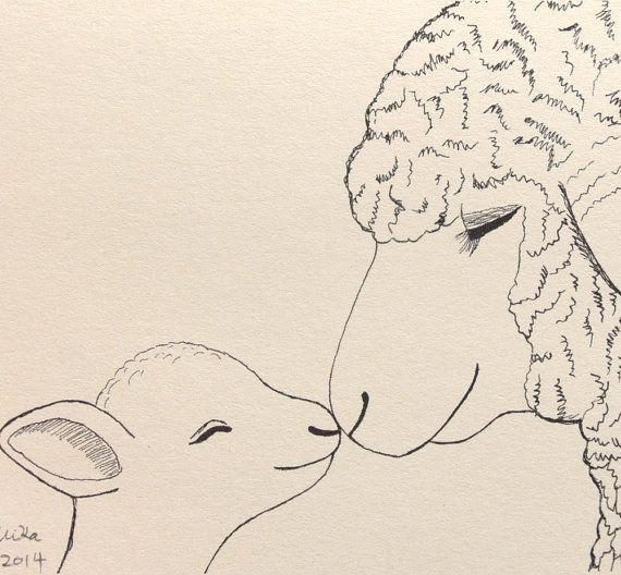 Lamb Sheep Illustration Ink Drawing Print Nursery Art Mom Baby Love illustration Black & White Ivory 4x6 Rustic Home Wall Decor Farm Animal
