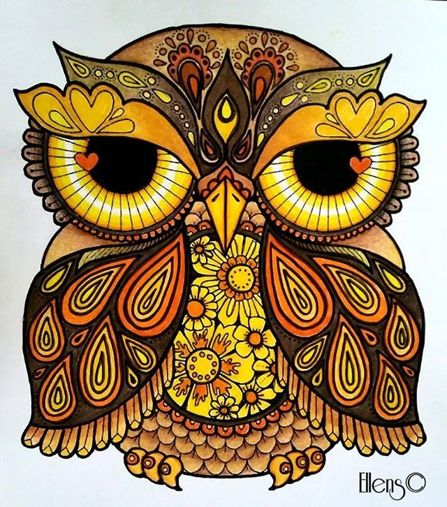 Little vintage owl! #owl #vintage #uil #prismacolors #herfstkleuren #fabercastellpolychromos #fabercastell #kleurenvoorvolwassenen #coloriage #coloring #coloringforadults