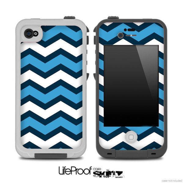 navy blue wide chevron pattern pattern skin for the iphone 5 or 4  4s lifeproof case