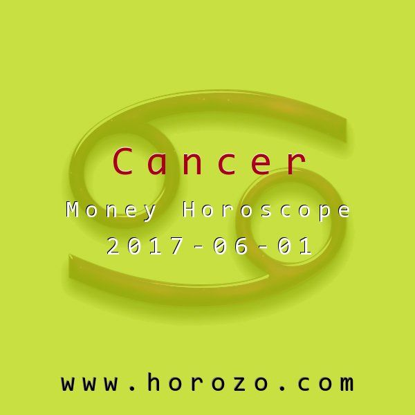 Cancer Money horoscope for 2017-06-01: Your issues today have more to do with your hard-headedness than your thick skin. You can change both parts of yourself, though, simply by coming out of your shell and participating. Ninety five percent of the profit can be made simply by showing up..cancer