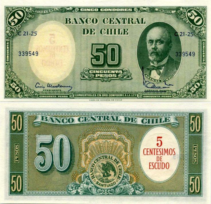 Chile 50 pesos 1960 Resellado con 5 centisimos de escudo