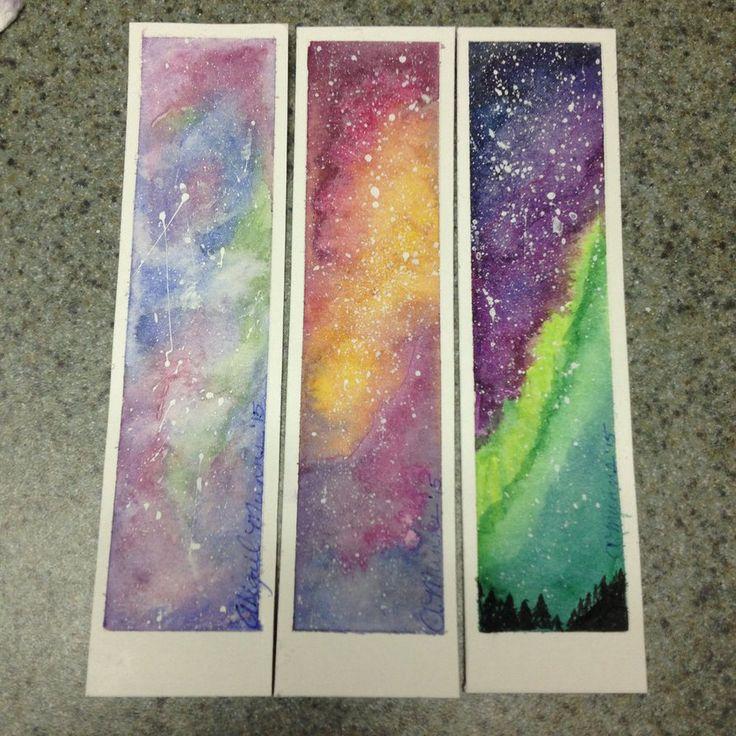 Galaxy/northern lights bookmarks by AMunns13.deviantart.com on @DeviantArt
