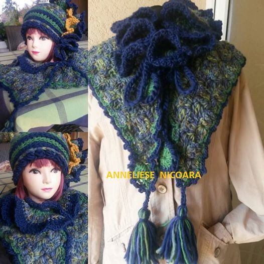 Set hat and scarf-UNIQUE DESIGN /Hand by AnnesMagicCrochet on Etsy