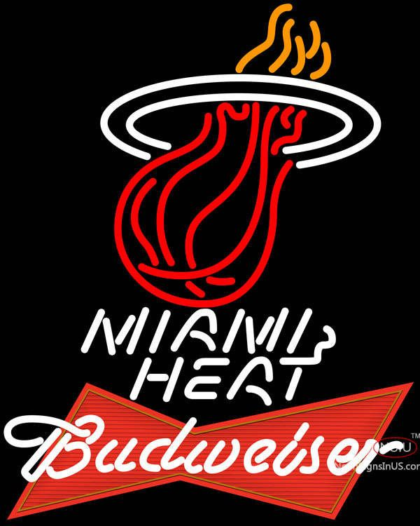 Budweiser Logo Miami Heat NBA Real Neon Glass Tube Neon Sign,Affordable and durable,Made in USA,if you want to get it ,please click the visit button or go to my website,you can get everything neon from us. based in CA USA, free shipping and 1 year warranty , 24/7 service