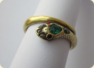 Queen Victoria's serpent engagement ring. A snake was the symbol of eternal love, the emerald was her birthstone.