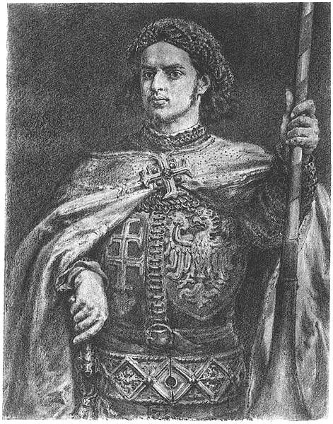 Vladislaus, King of Poland and Hungary (a portrait by Jan Matejko) whom Hunyadi supported in the civil war of 1440-1442