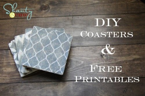 DIY coasters. Tumbled marble tiles + printed paper + mod podge, bake in oven for nifty coasters!