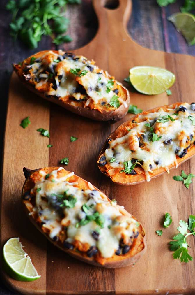 Chipotle, Roasted Garlic, and Black Bean Twice-Baked Sweet Potatoes.  My favorite flavor combo! | hostthetoast.com
