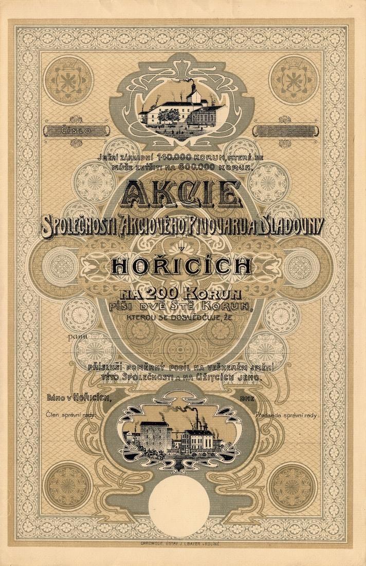 Akciový pivovar a sladovna v Hořicích (Bier-Actien-Brauhaus und Mälzerei in Horitz). Akcie na 200 Korun. Hořice, 1917.