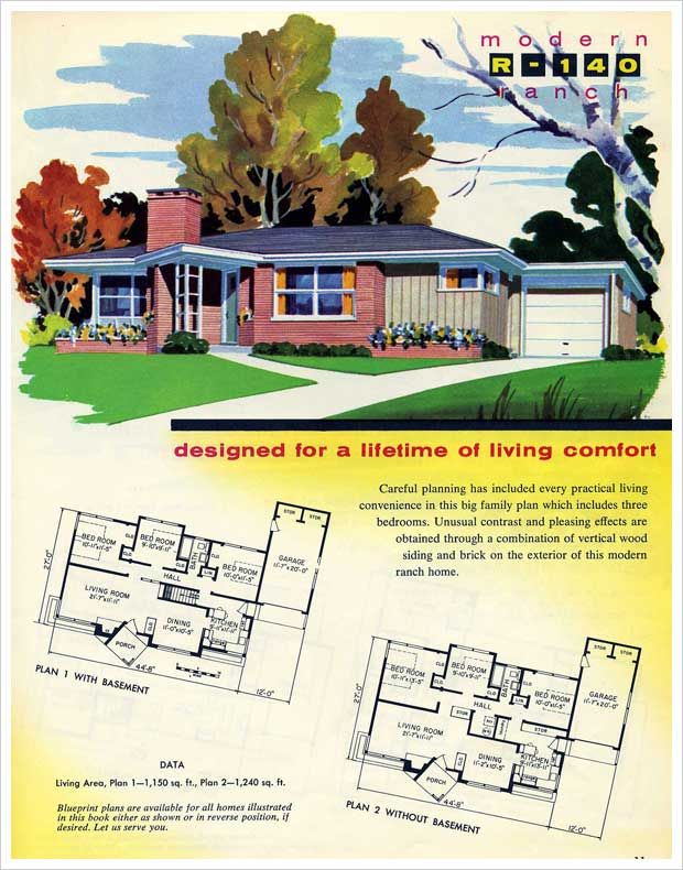 1950s ranch house plan bungalow pinterest house for 1950 bungalow house plans
