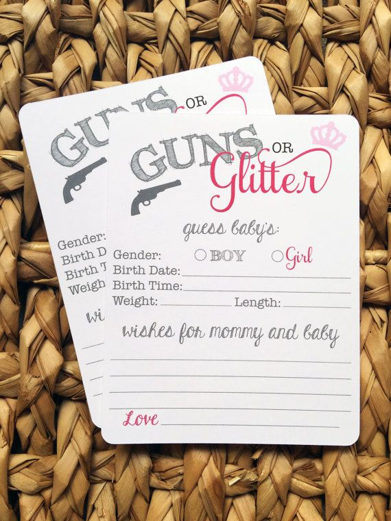 12 GUNS OR GLITTER Gender reveal baby shower wish cards    This set includes 12 wish cards on white card stock  Each card measures approx. 4.7(H)