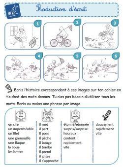 Production d'écrit CE1: images séquentielles - Le petit cartable de Sanleane