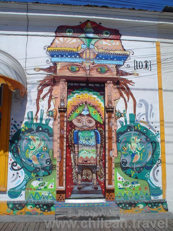 A decorated door on Paseo Baquedano in Iquique, Chile.