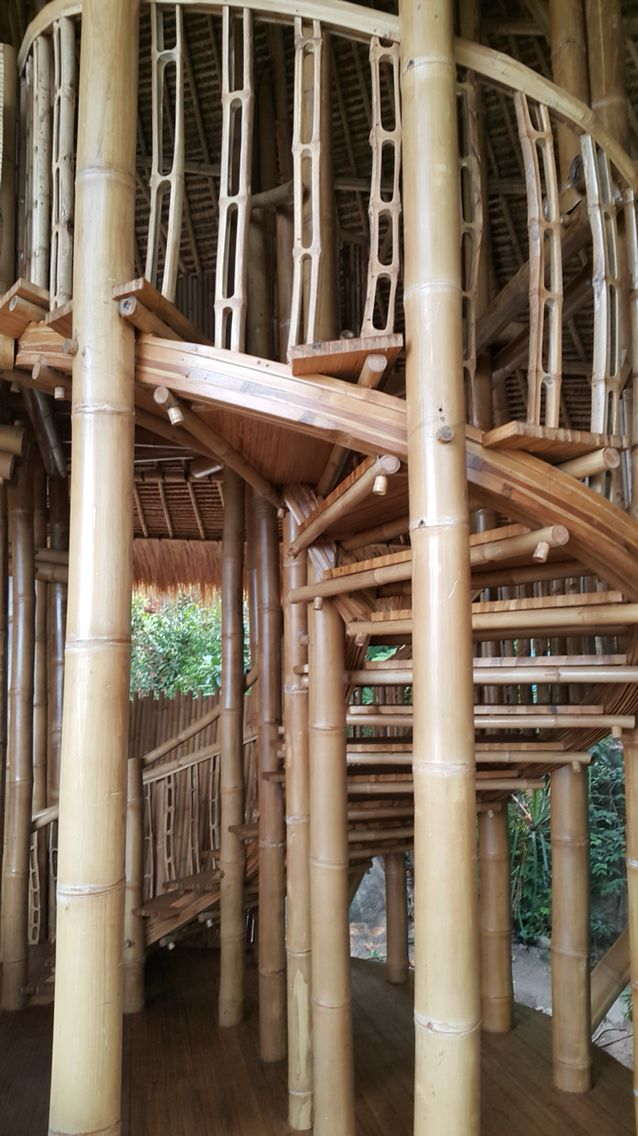 Although the bamboo matrix forming the internal staircase looks complex the ease at which you glide up this staircase is extraordinary  . #mileshumphreysarchitect