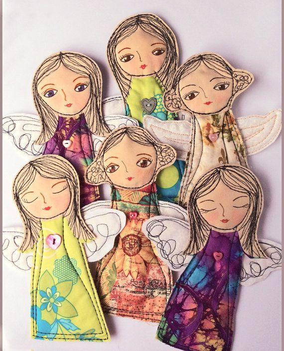 Ornamento del ángel de artesanía de tela adorno hecho a mano por InspiredSpirits