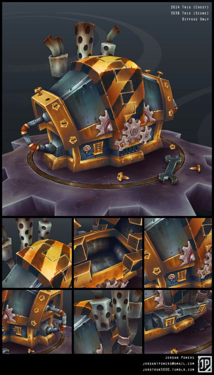 Gnomish Treasure Chest for World of Warcraft prop art test, 2013 For this art test, I was tasked to create a World of Warcraft treasure chest in the style of any race found within the game. Almost everything that Gnomes try to engineer mimics something found in Azeroth, so I tried to match the rough silhouette of a classic Warcraft treasure chest. I used Gnome characters exclusively for the four years that I played, so it would be a crime if I didn't try to make something Gnomish!