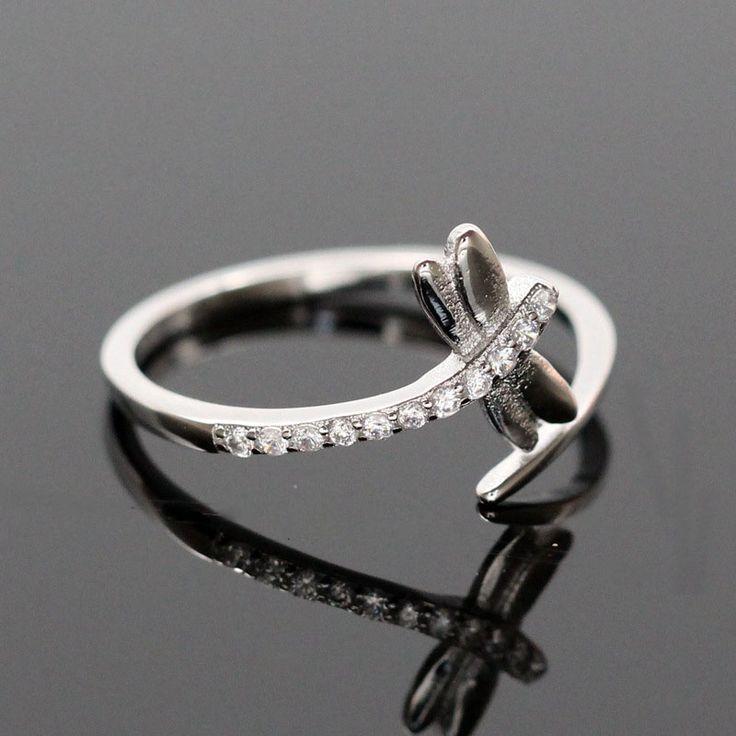เพทายแมลงปอหมั้น/แหวนแต่งงานสำหรับผู้หญิงAnillos S925เงินสเตอร์ลิงเปิดเพชรCZแหวนเครื่องประดับBague Bijoux