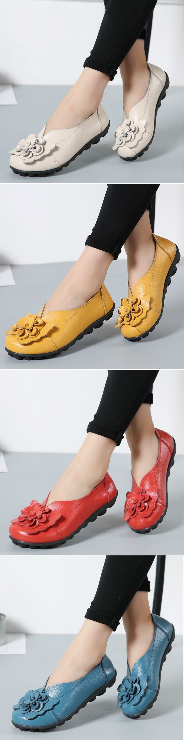 46% OFF! US$21.38 Large Size Flower Leather Lazy Flats. SHOP NOW!