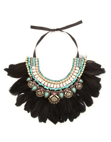 """Statement necklace"" Black feathers and multi-coloured stones."