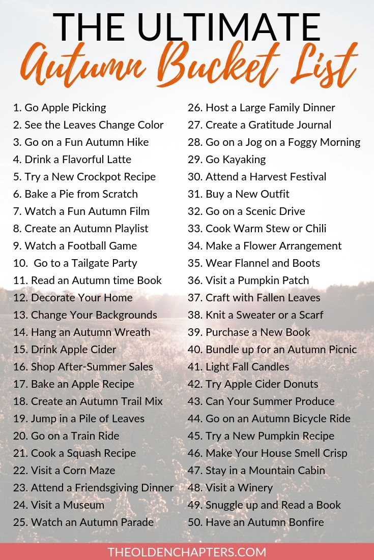 The Ultimate Autumn Bucket List The Olden Chapters In 2020 Fall Bucket List Autumn To Do List Fun Fall Activities