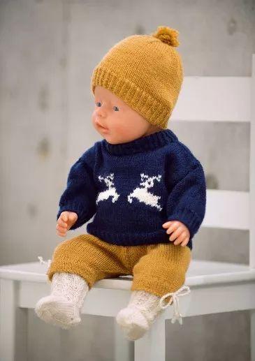 Dukkesett: genser, nikkers, lue, strømper
