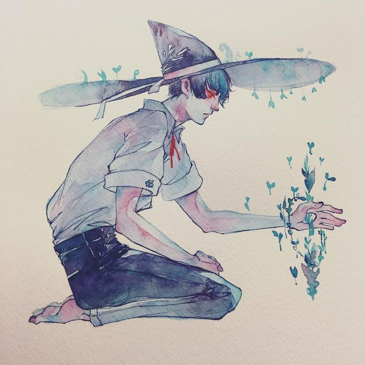 Offshoot of the plant boys: a witch whose hand sprouts his own herbs for his store (੭ˊ͈ ꒵ˋ͈)੭̸*✧⁺˚