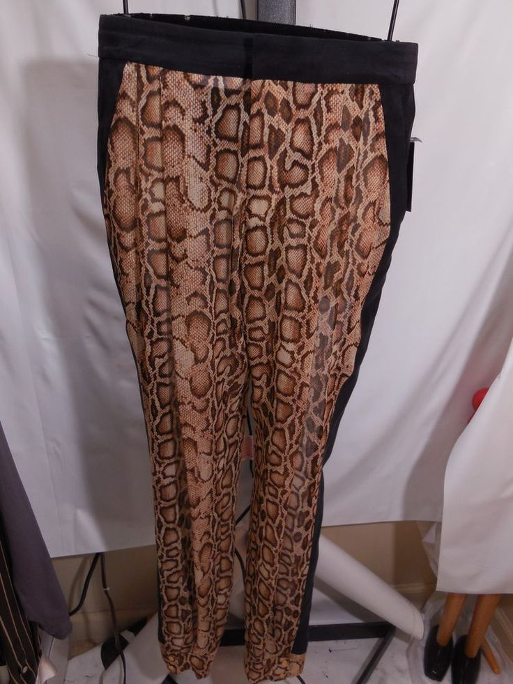 MISSES 100% SILK SNAKESKIN PRINT TRACK PANTS RACHEL ROY 4 $298 #RachelRoy #DressPants