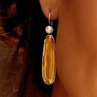 Amber and pearl drop earrings, 'Shadowed Sunlight'
