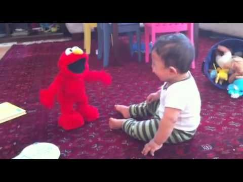 Talking Elmo toy scares Yaseen.