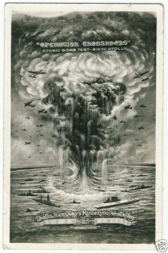 Absolutely wild artwork!!  c1946 Operation Crossroads Atomic Bomb Tests Bikini Atoll I R Lloyd Art RPPC   eBay