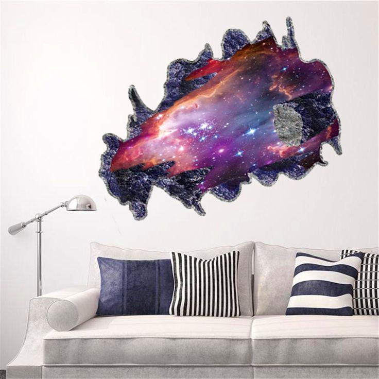 Galaxy 3D Space Meteoriten Wohnzimmer Schlafzimmer TV Hintergrund abnehmbare Wandspiegel Aufkleber Perspektive PVC Wand: Amazon.de: Küche & Haushalt