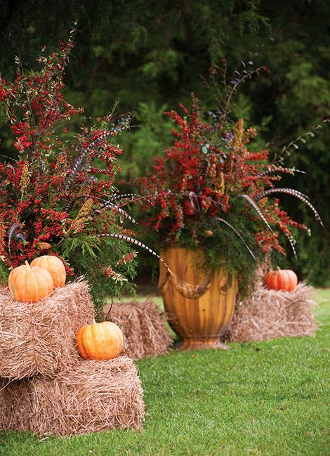 Hay Bales Pumpkins Feathers And Branches Fall My
