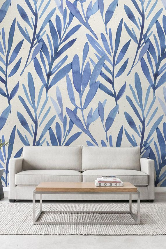 Wall Mural With Blue Watercolor Leaves Temporary Wall Mural Etsy