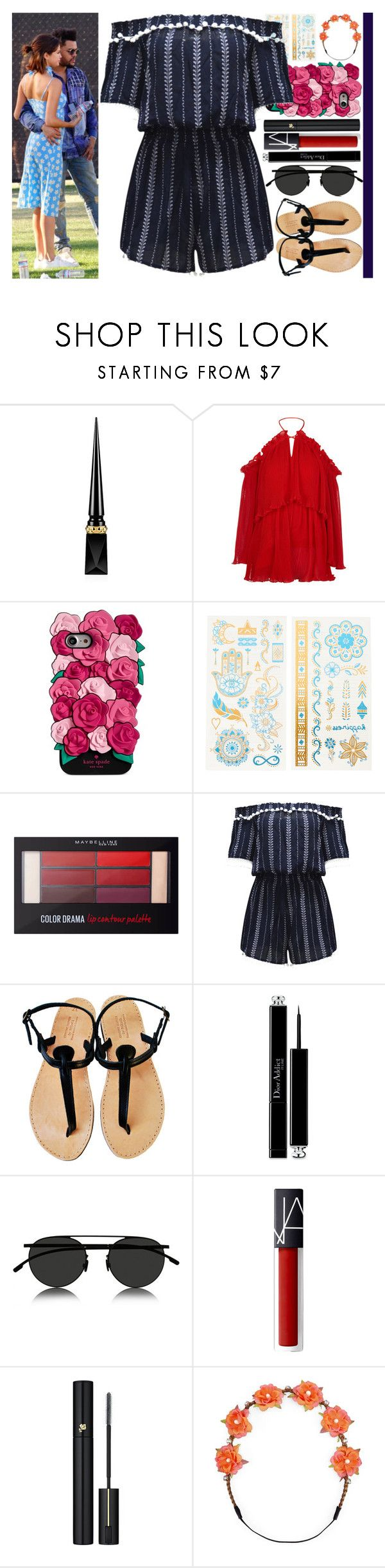 """With Selena Gomez And The Weeknd (Abel Makkonen Tesfaye)"" by angelbrubisc ❤ liked on Polyvore featuring Christian Louboutin, Alice McCall, Kate Spade, claire's, Maybelline, WithChic, Christian Dior, Mykita, Lancôme and Carole"