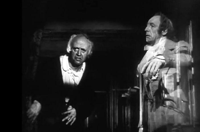 alastair sim as scrooge images | Scrooge (Alastair Sim) forced by Marley (Michael Hordern) to look out ...