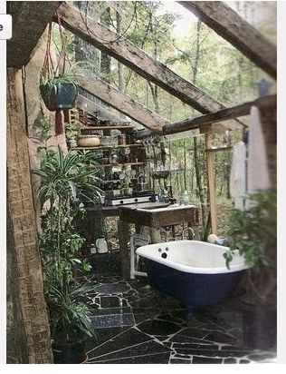 Greenhouse dream - bathroom in a greenhouse surrounded by beautiful plants i wouldn't get out!