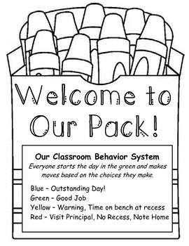 This is a Crayon themed classroom management plan. It includes the printables to create your own behavior board, weekly behavior charts to send home, a parent note explaining the system, and notes to send home for behavior problems and great behavior.