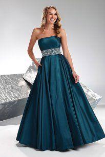 A-line empire, green floor length evening dress