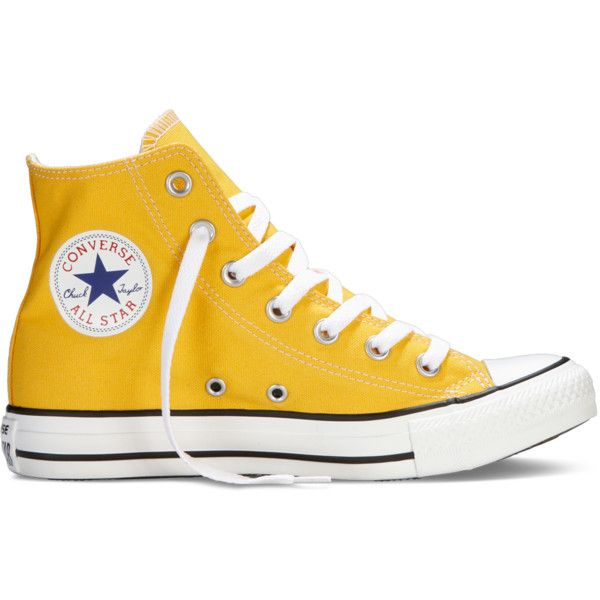 Converse Chuck Taylor All Star Fresh Colors – yellow Sneakers ($40) ❤ liked on Polyvore featuring shoes, sneakers, converse, yellow, high top shoes, yellow trainers, star shoes, yellow high top shoes and yellow high top sneakers
