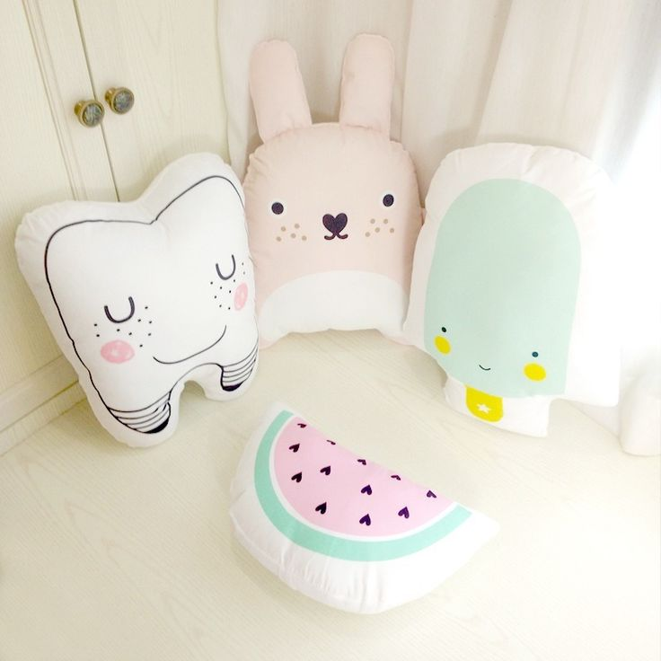 Cartoon Totoro Tooth Watermelon Ice Cream Cushion Pillow Baby Calm Sleep Toys Stuffed Plush Dolls Nordic Kids Bed Room Decor