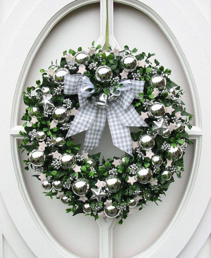 Silver holiday wreath