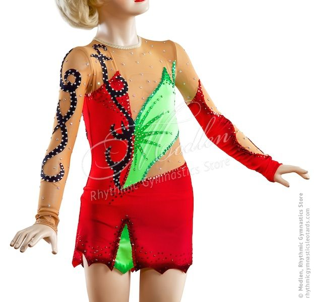 The rhythmic gymnastics leotard (also could be sewn as acrobatic gymnastics leotard or ice figure skating dress) is made of stretch lycra, transparent mesh, decorative applications & paillettes (spangles).  At the front and at the back of the leotard there are about 1000 basic crystals but you can order more with Swarovski crystals.  http://rhythmicgymnasticsleotards.com/87/