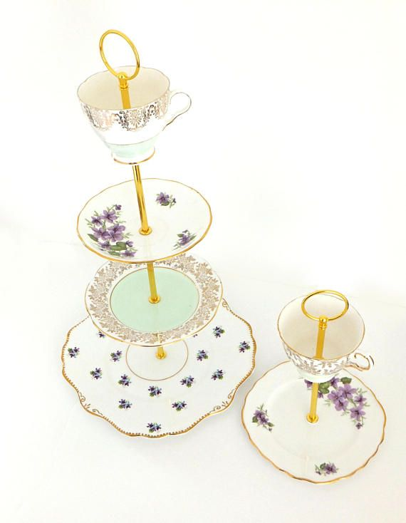 Tiered Cake Stand Mint green and Lilacs Vintage China 4 tier