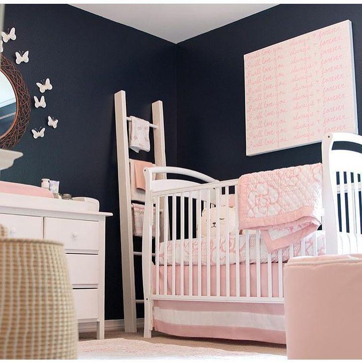 Girls nursery ideas| pink and navy nursery ideas Via @posh_baby_
