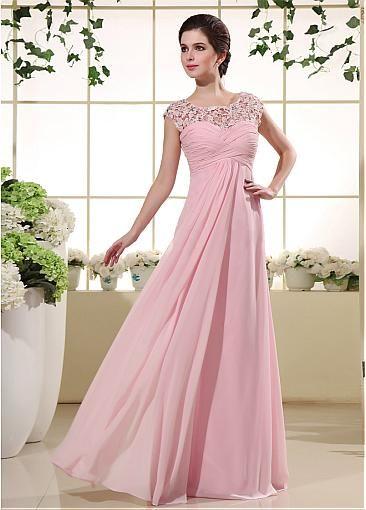Elegant Chiffon & Lace Bateau Neckline A-line Prom Dress with Rhinestones
